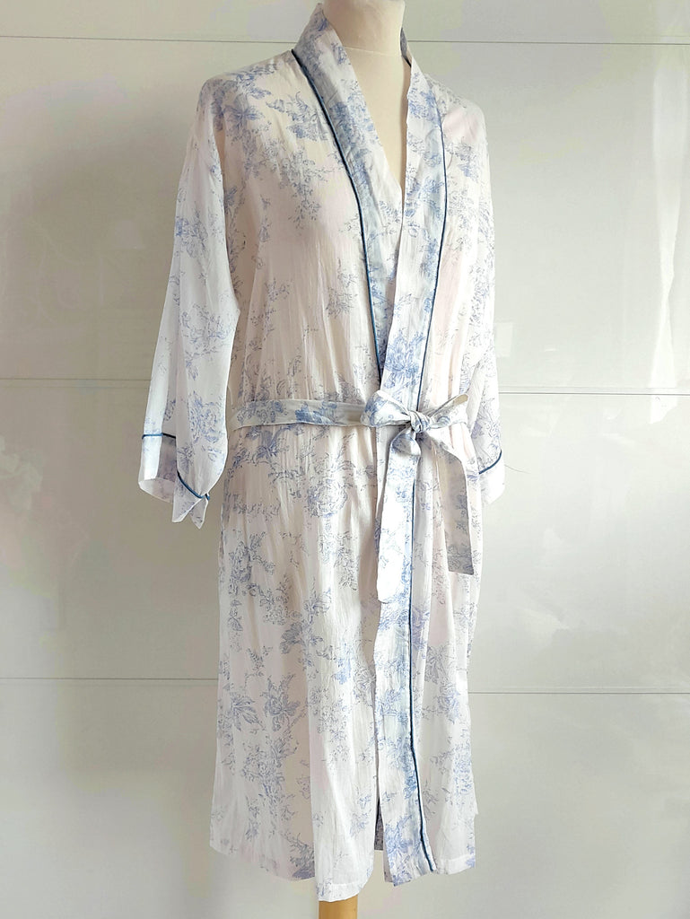 Toile Print Blue | Kimono Robe | Hand Block Printed | Cotton Voile | An Indian Summer