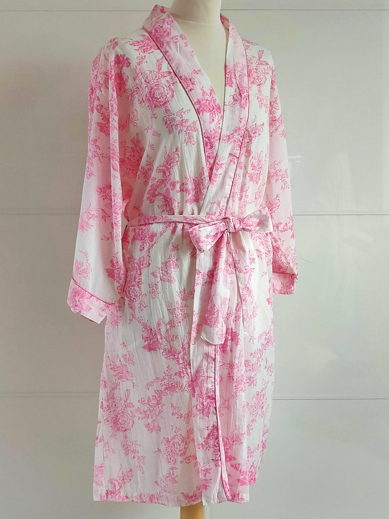 Toile Print Pink | Kimono Robe | Hand Block Printed | Cotton Voile | An Indian Summer