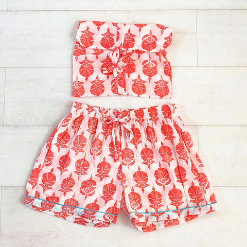 Ottoman Flower Shorts - Coral