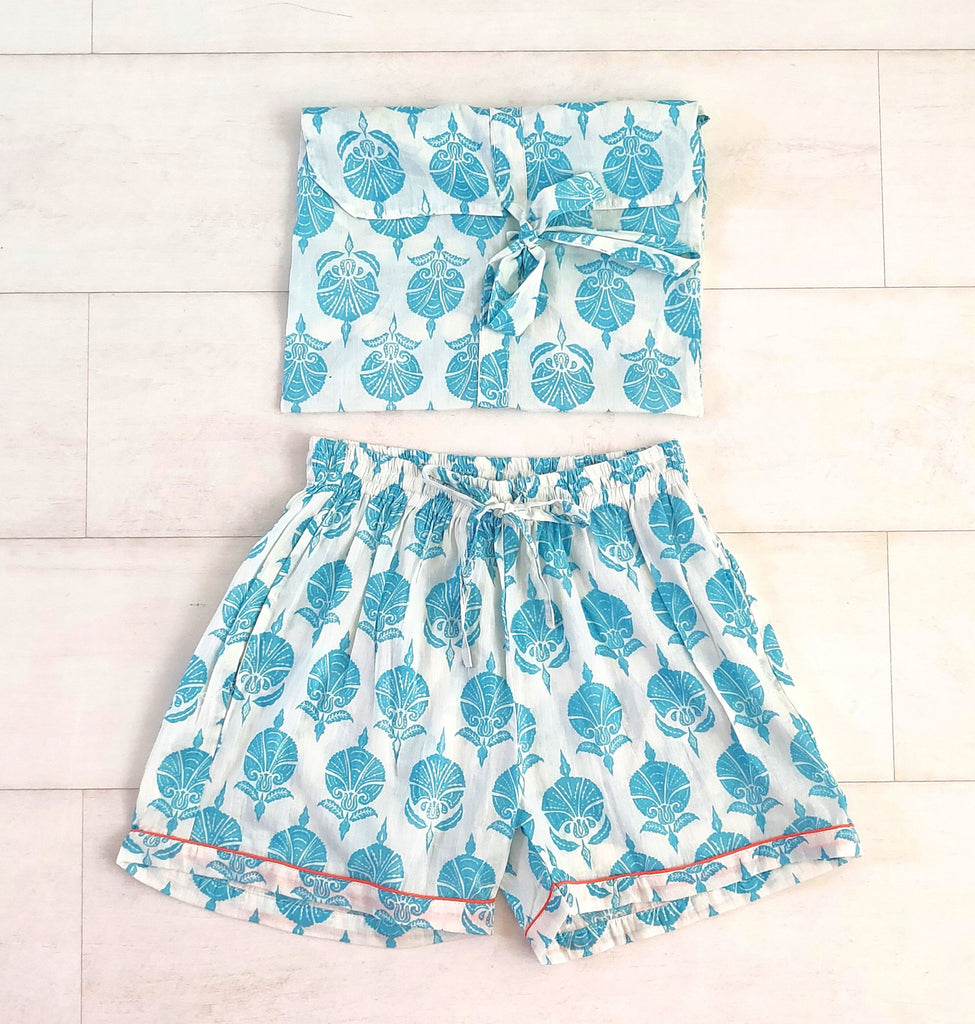 Ottoman Flower Print Turquoise Shorts | Hand Block Printed | Cotton Voile | An Indian Summer