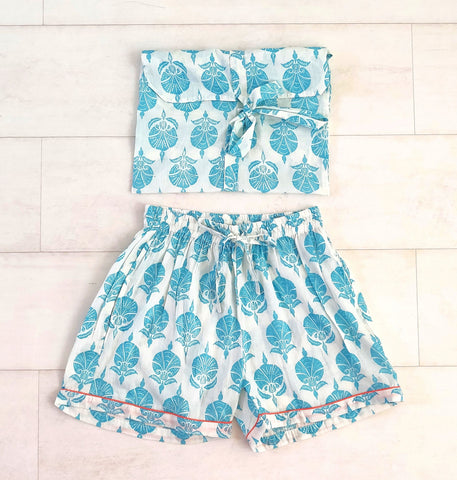 Ottoman Flower Shorts - Turquoise