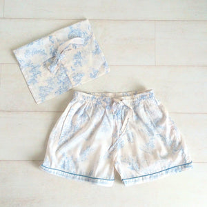 Toile Print Shorts - Blue - An Indian Summer