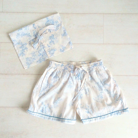 Toile Print Shorts - Blue