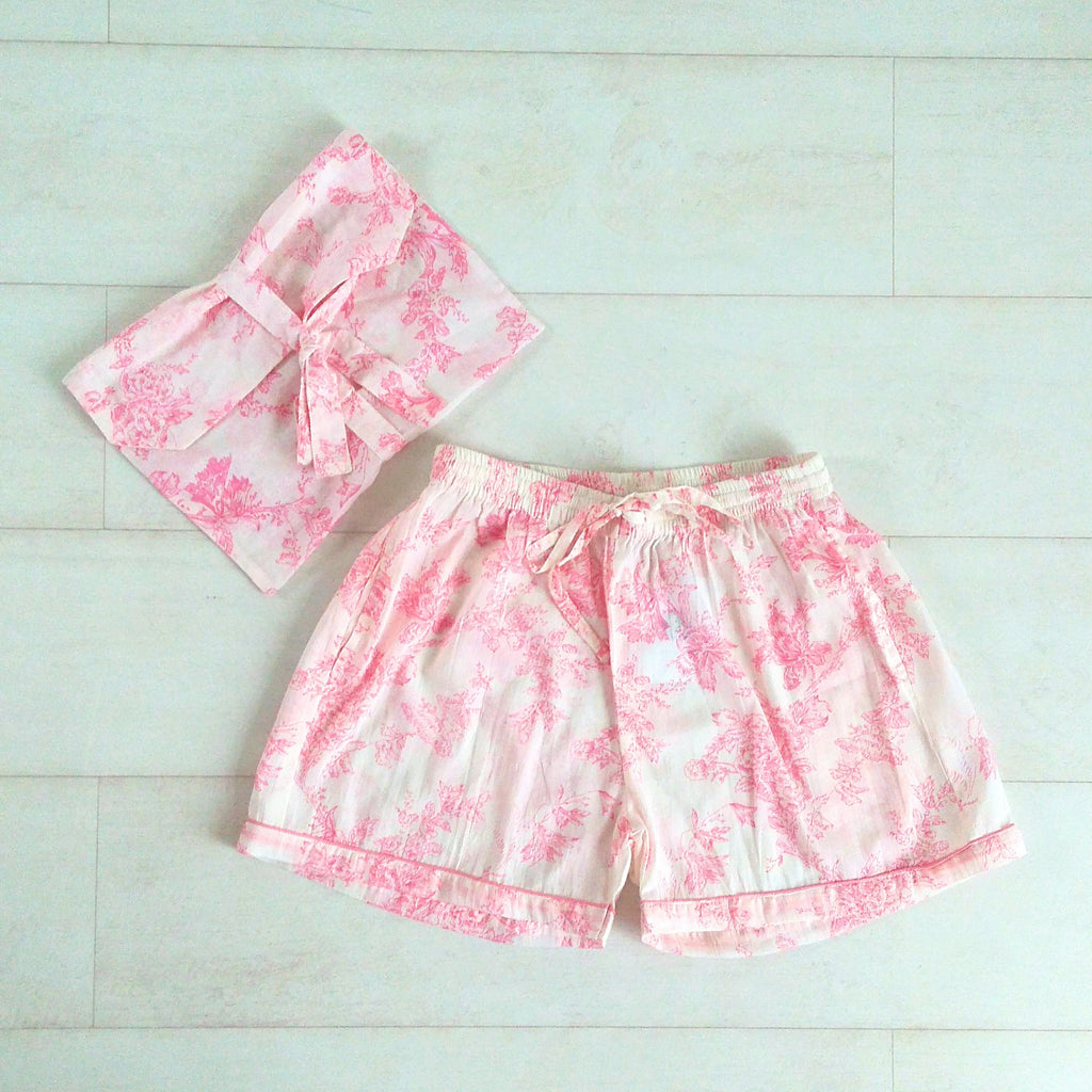 Toile Print Pink Shorts | Hand Block Printed | Cotton Voile | An Indian Summer