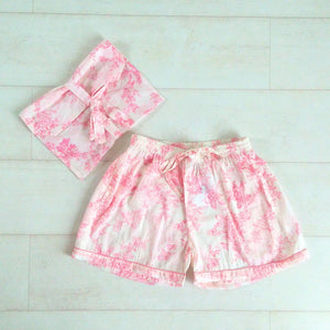 Toile Print Shorts - Pink - An Indian Summer