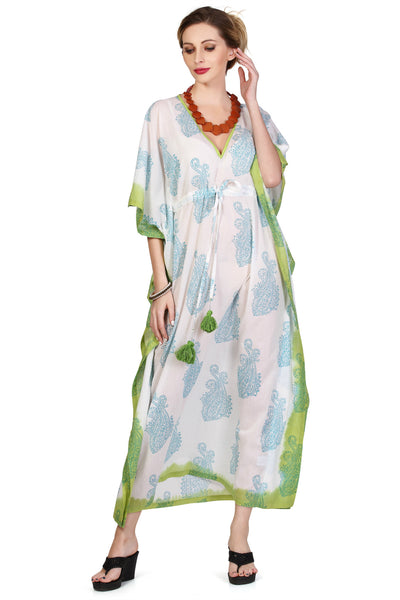 St Tropez Maxi Kaftan - Turquoise & Lime - An Indian Summer