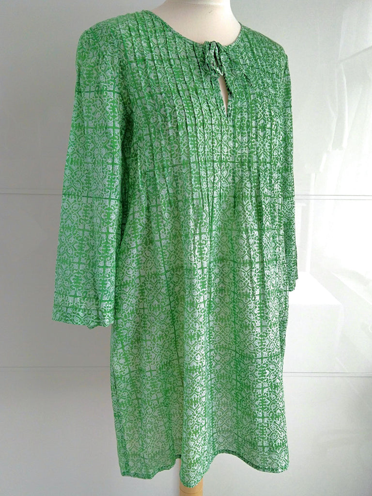 Trellis Tunic Dress Green | Hand Block Printed | Cotton | An Indian Summer
