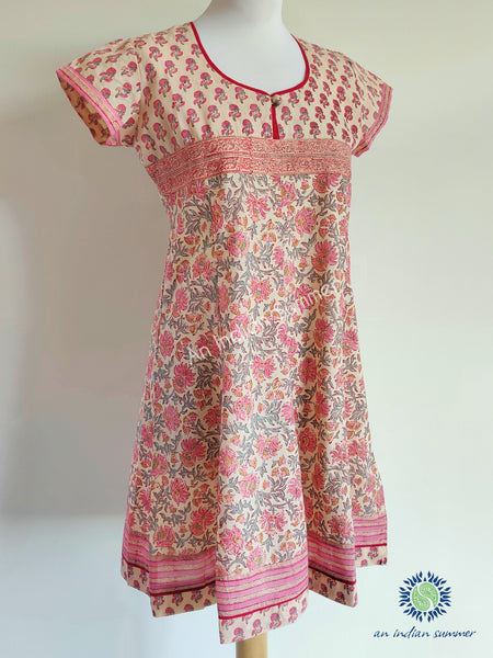 Tulika Dress | Peach & Pink | Hand Block Printed | Cotton | An Indian Summer | Seasonless Timeless Sustainable Ethical Authentic Artisan Conscious Clothing Lifestyle Brand