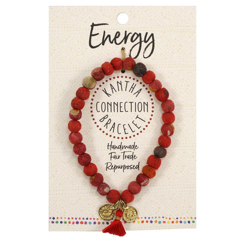 Kantha Connection Bracelet - Energy - Red