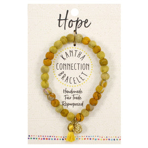 Kantha Connection Bracelet - Hope - Yellow - An Indian Summer