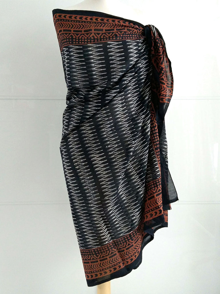 Zig Zag Sarong Pareo | Black Grey White Brown | Natural Dye | Hand Block Printed | Cotton Voile | An Indian Summer