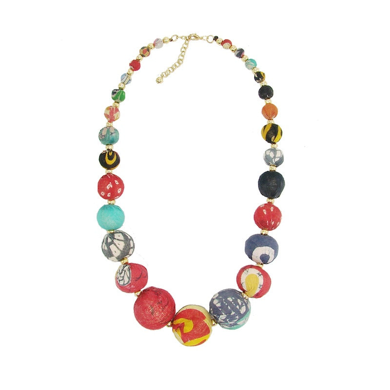 Kantha Graduated Bead Statement Necklace - An Indian Summer