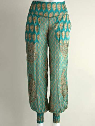 Paisley Aqua Cuffed Pants - An Indian Summer