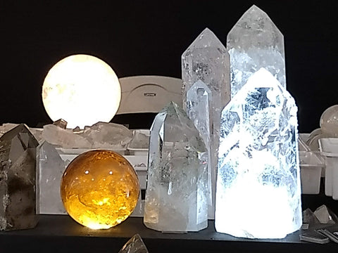 Quartz crystal balls and points at the 22nd Street Show