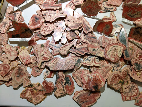 Slabs of rhodochrosite