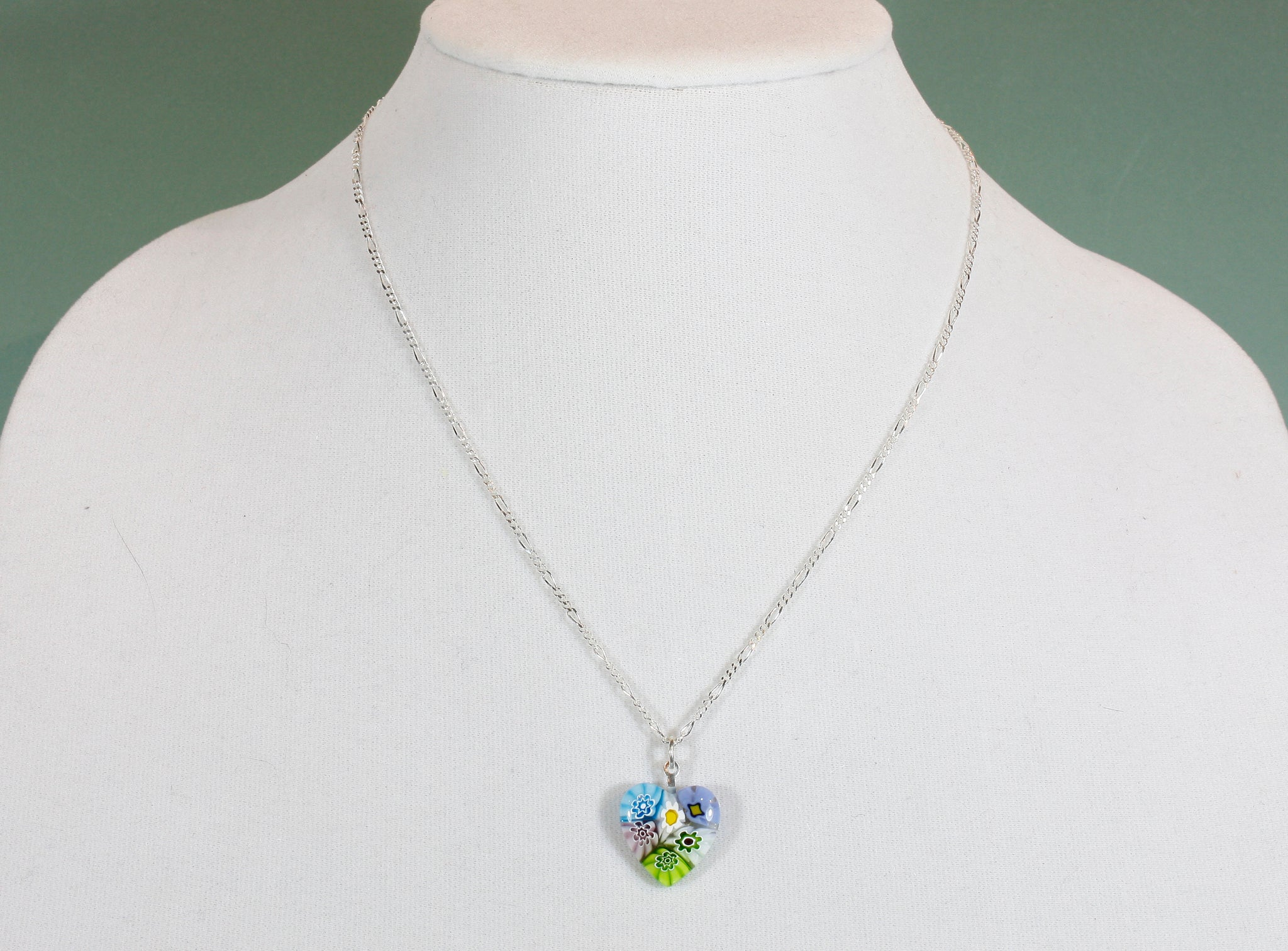 """A Thousand Flowers for You"", Venetian Glass Millefiori Pendant Necklace, 18 Inches"