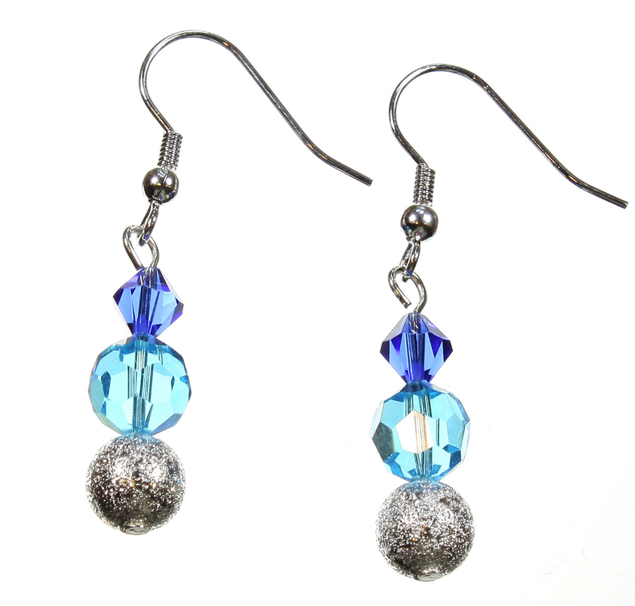 "Blue Crystal Earrings ""Across the Silvery Seas"""