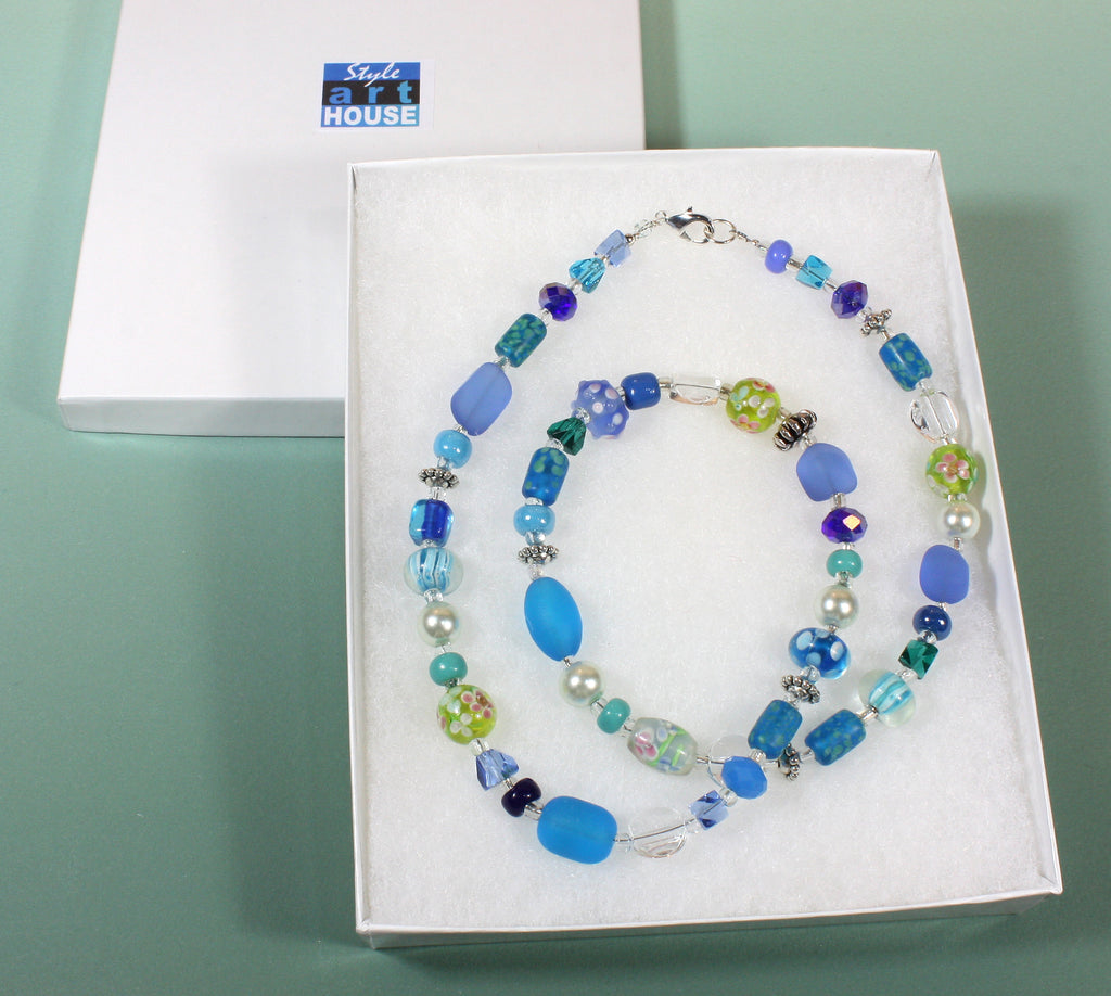 """All About Blue"" Colorful Glass Bead Necklace, 25 Inches"