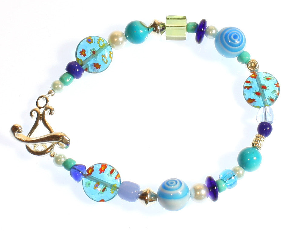 "Blue Lampwork Glass Bracelet ""All About Blue"""