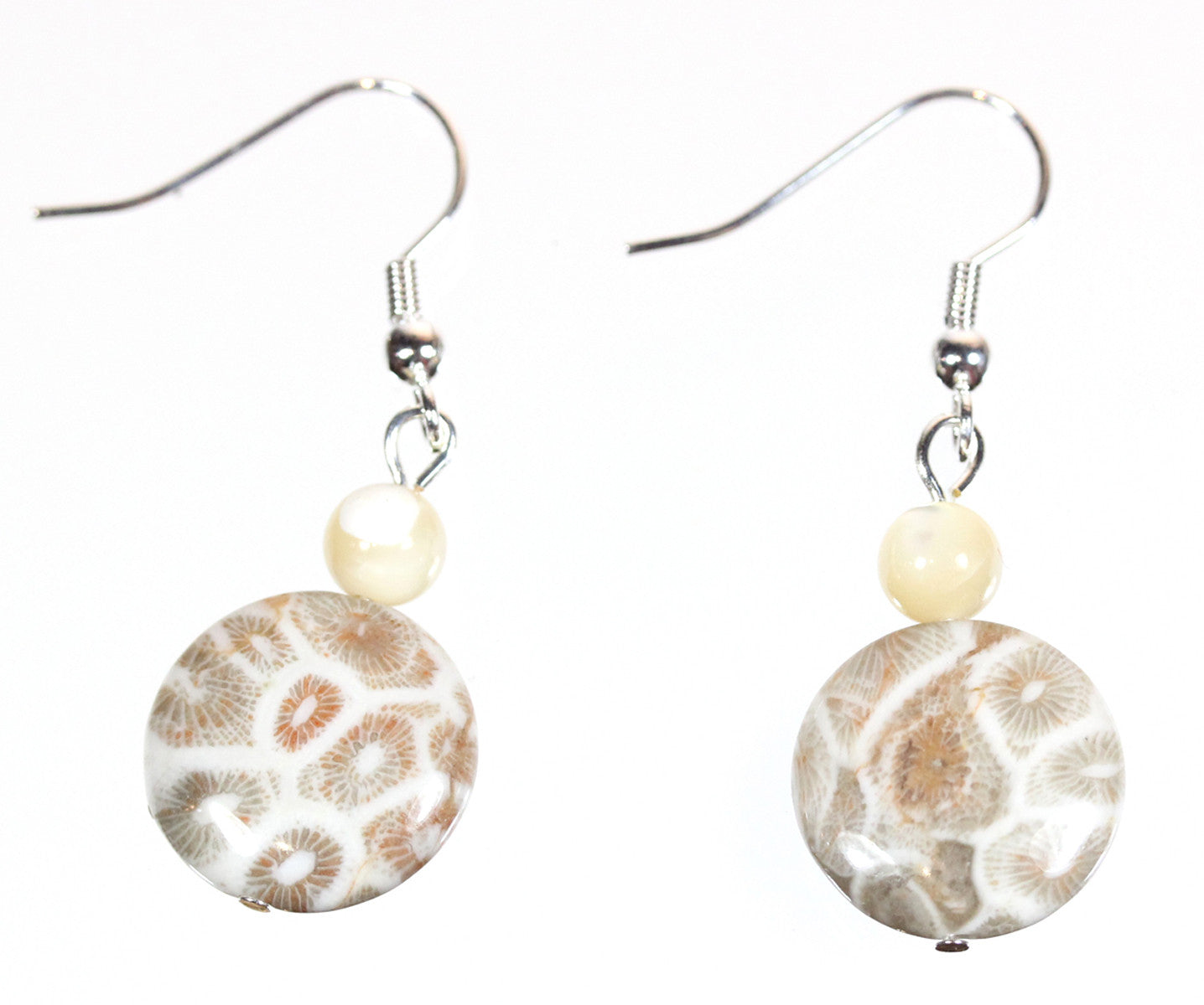 "Fossil Coral Earrings ""Ancient Sea"""