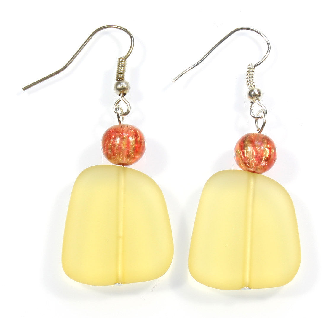 "Yellow Sea Glass Earrings ""Baked in the Sun"" Style-ARThouse"