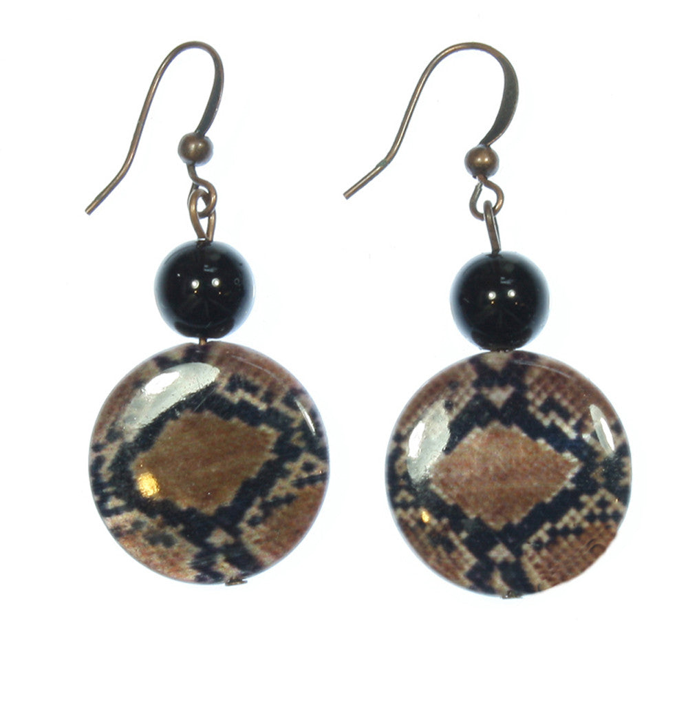 "Reptile Print Earrings ""Beware of the Snake"" Style-ARThouse"