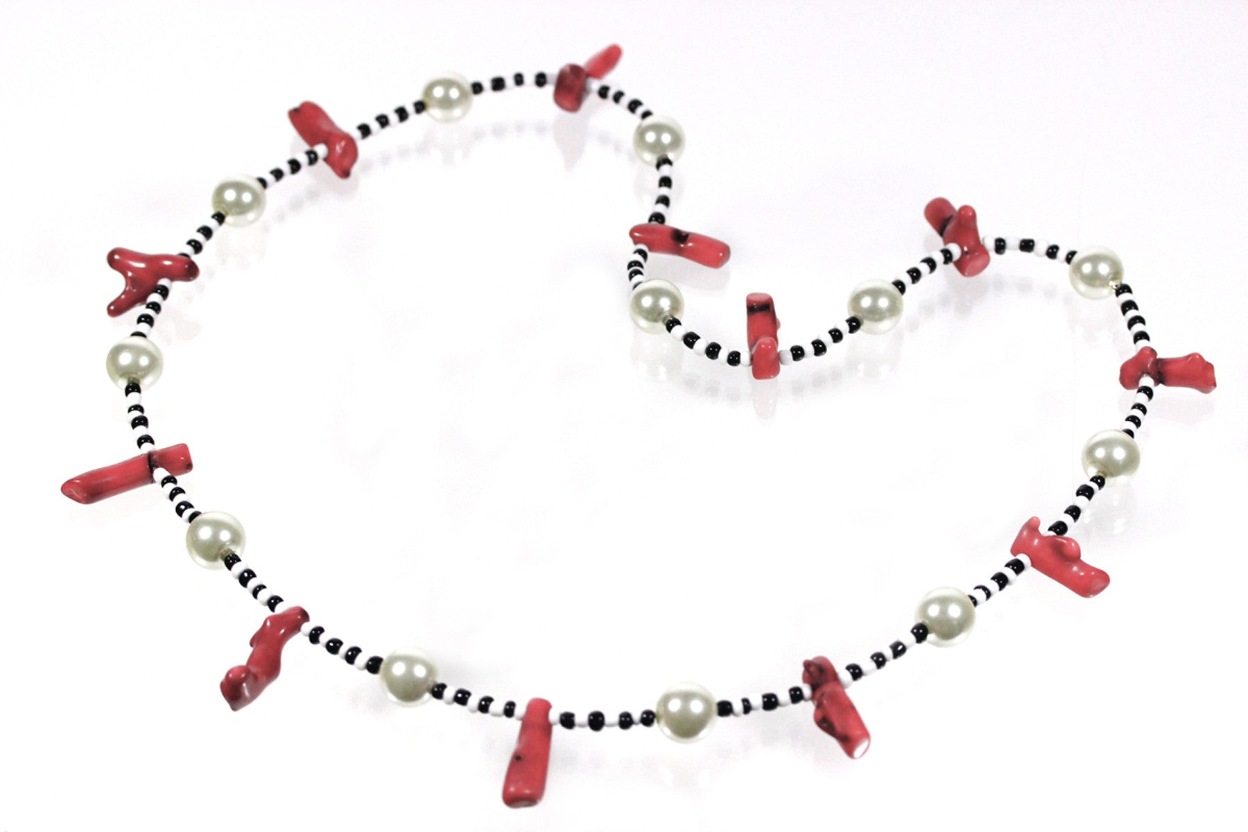 "Red Coral Necklace ""Black and White and Red All Over"" Style-ARThouse"