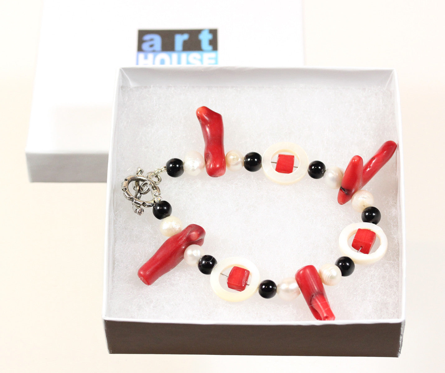 "Red Coral Bracelet ""Black and White and Red All Over"" Style-ARThouse"