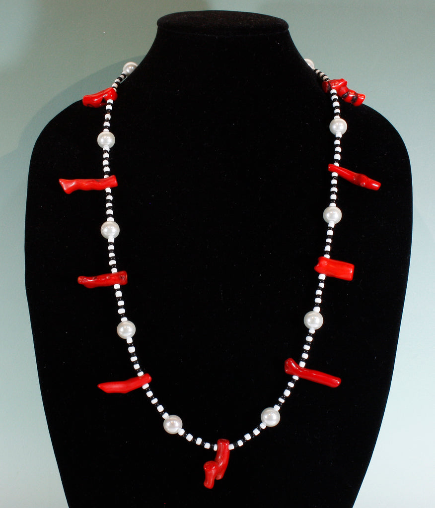 """Black and White and Red All Over"" Natural Bamboo Coral Long Necklace, 30 Inches"