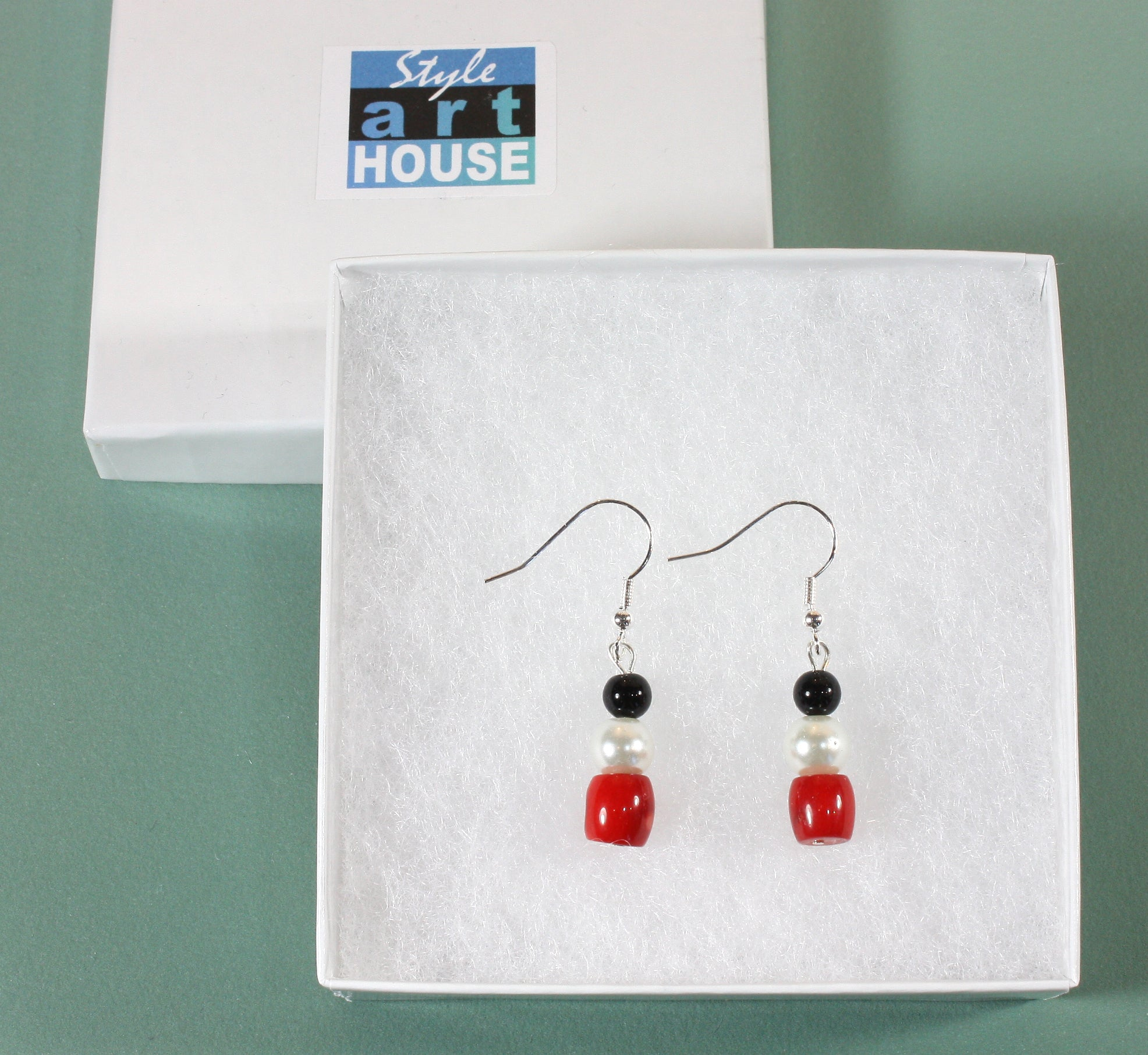 """Black and White and Red All Over"" Bamboo Coral Earrings, 1.5 Inches"