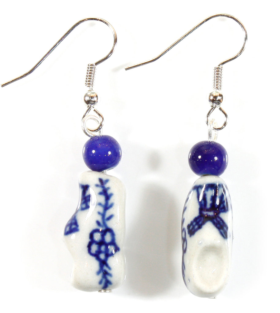 """Blue Delft Clogs"" Little Wooden Shoes with Windmill, Porcelain Earrings"