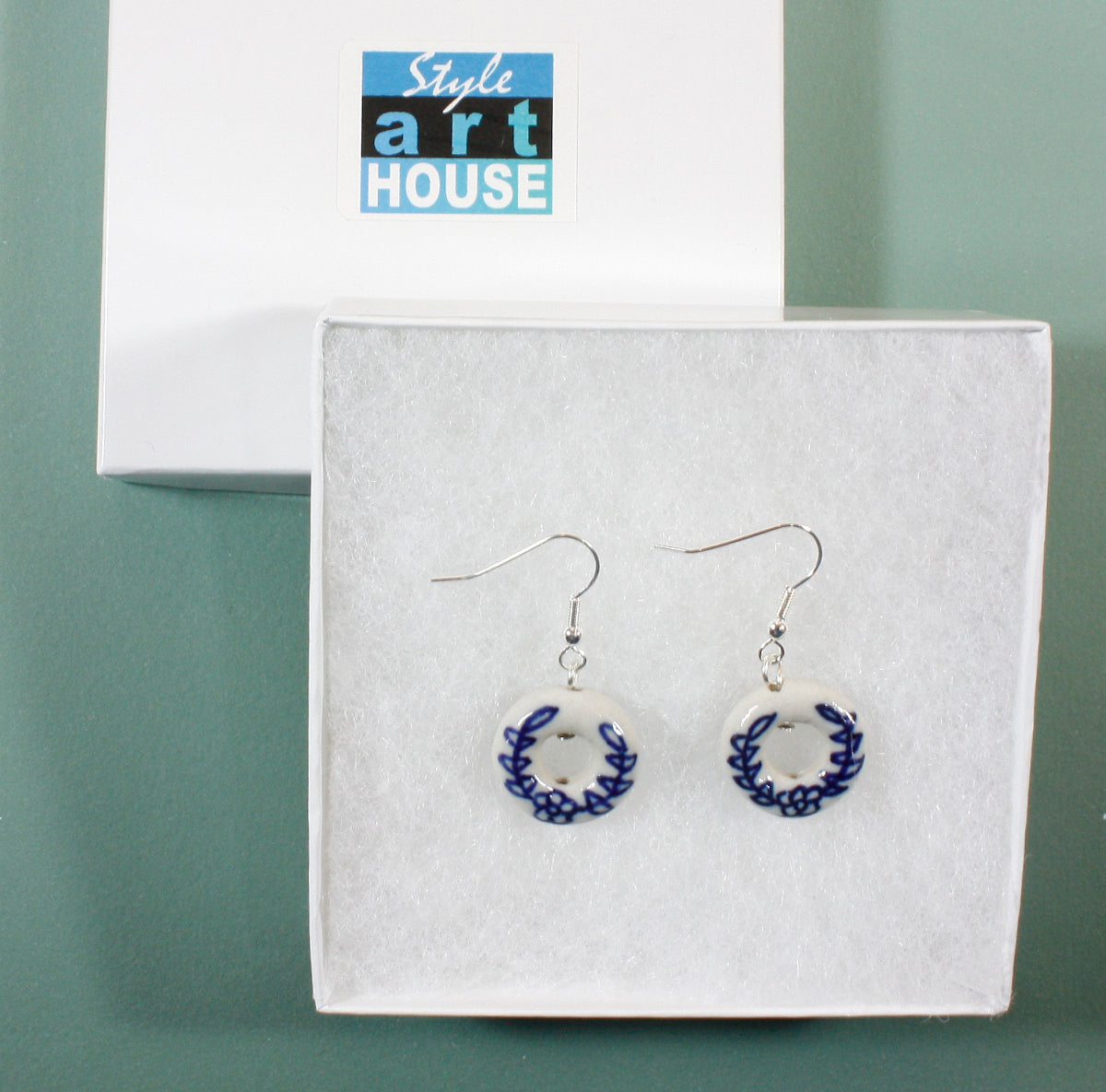 """Blue Delft Rings"" Blue and White Porcelain Earrings in Hoop Shape"
