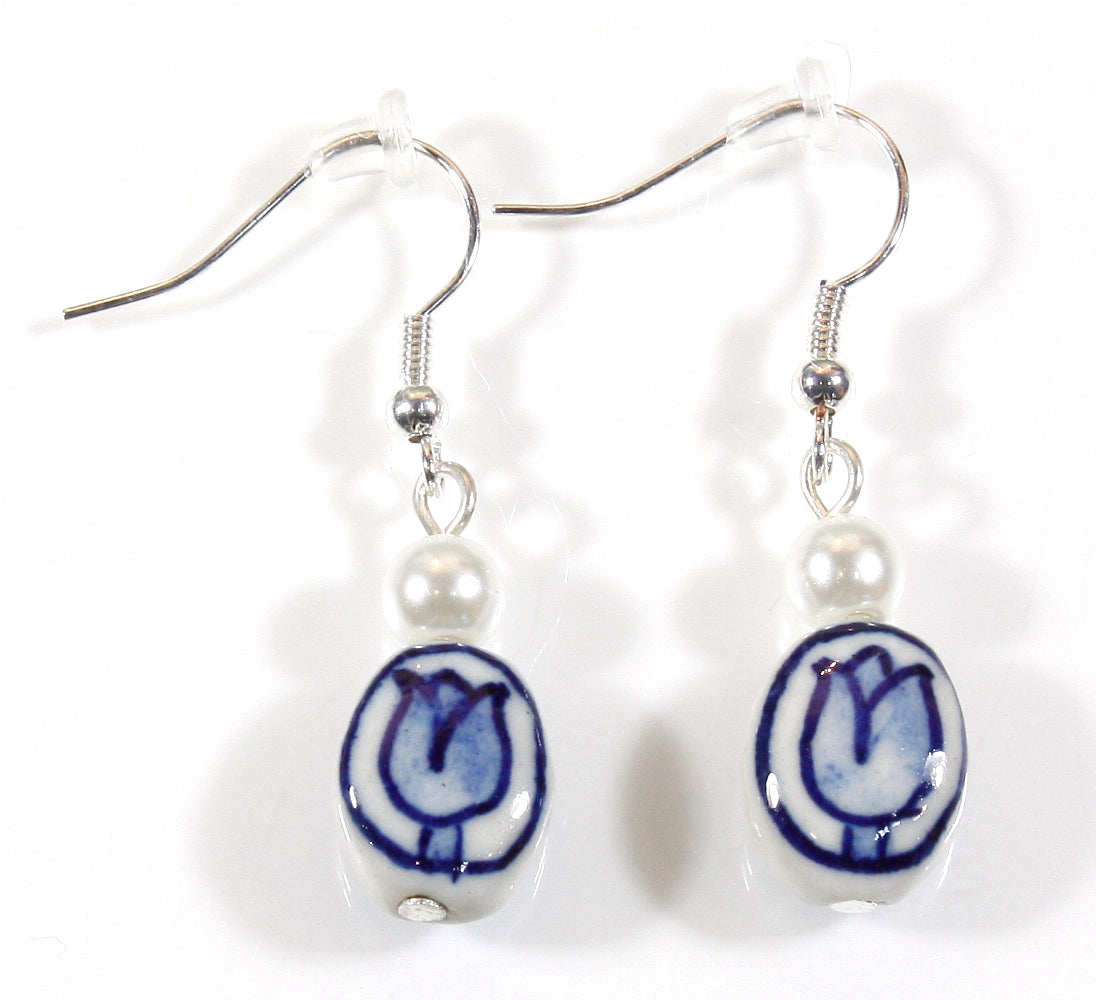 """Blue Delft"" Dutch Blue and White Porcelain Earrings"