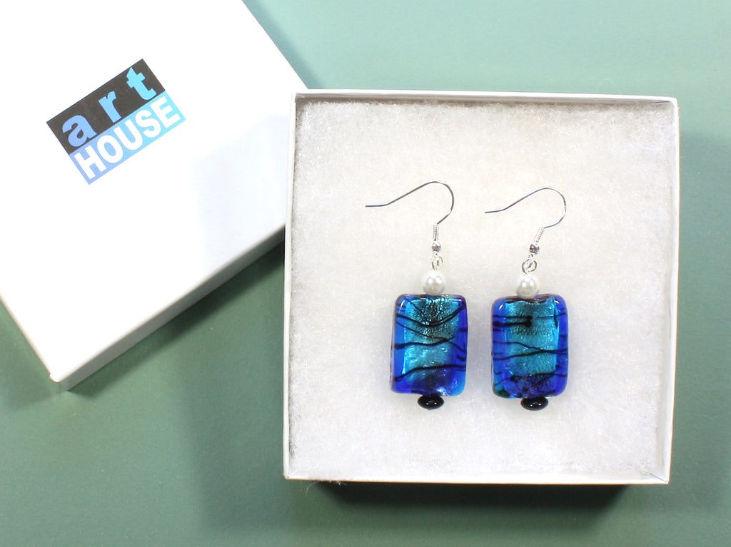 "Fused Glass Blue Earrings ""Blue Ice"" Style-ARThouse"