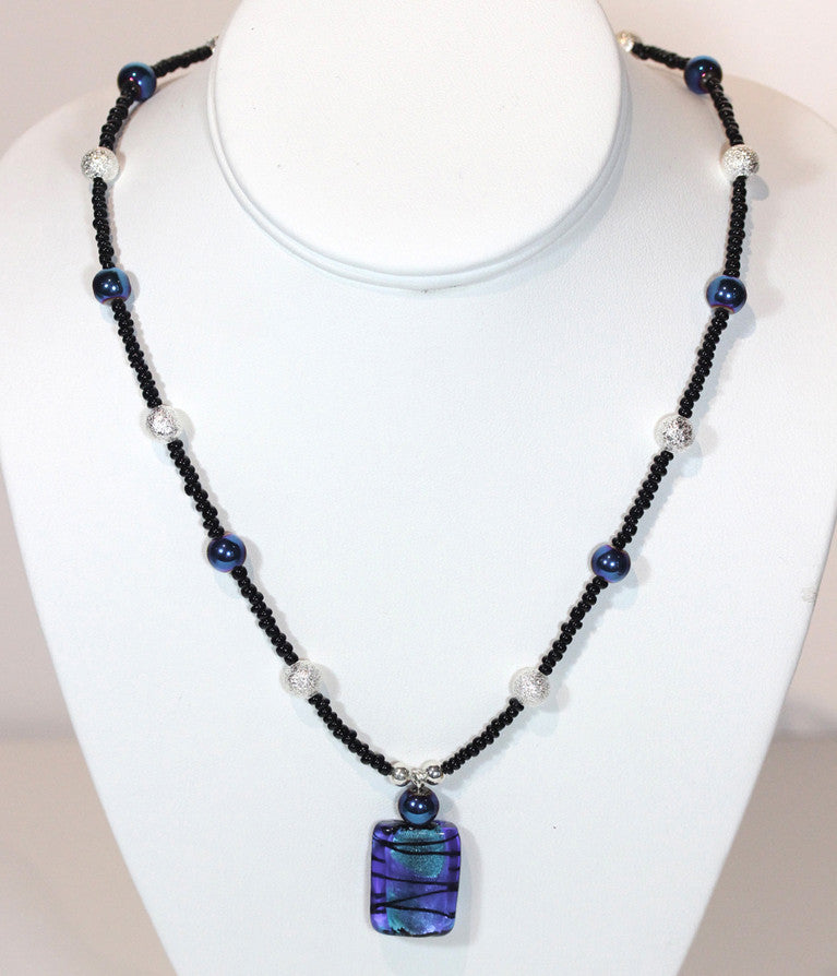 "Fused Glass Blue Necklace ""Blue Ice"" Style-ARThouse"