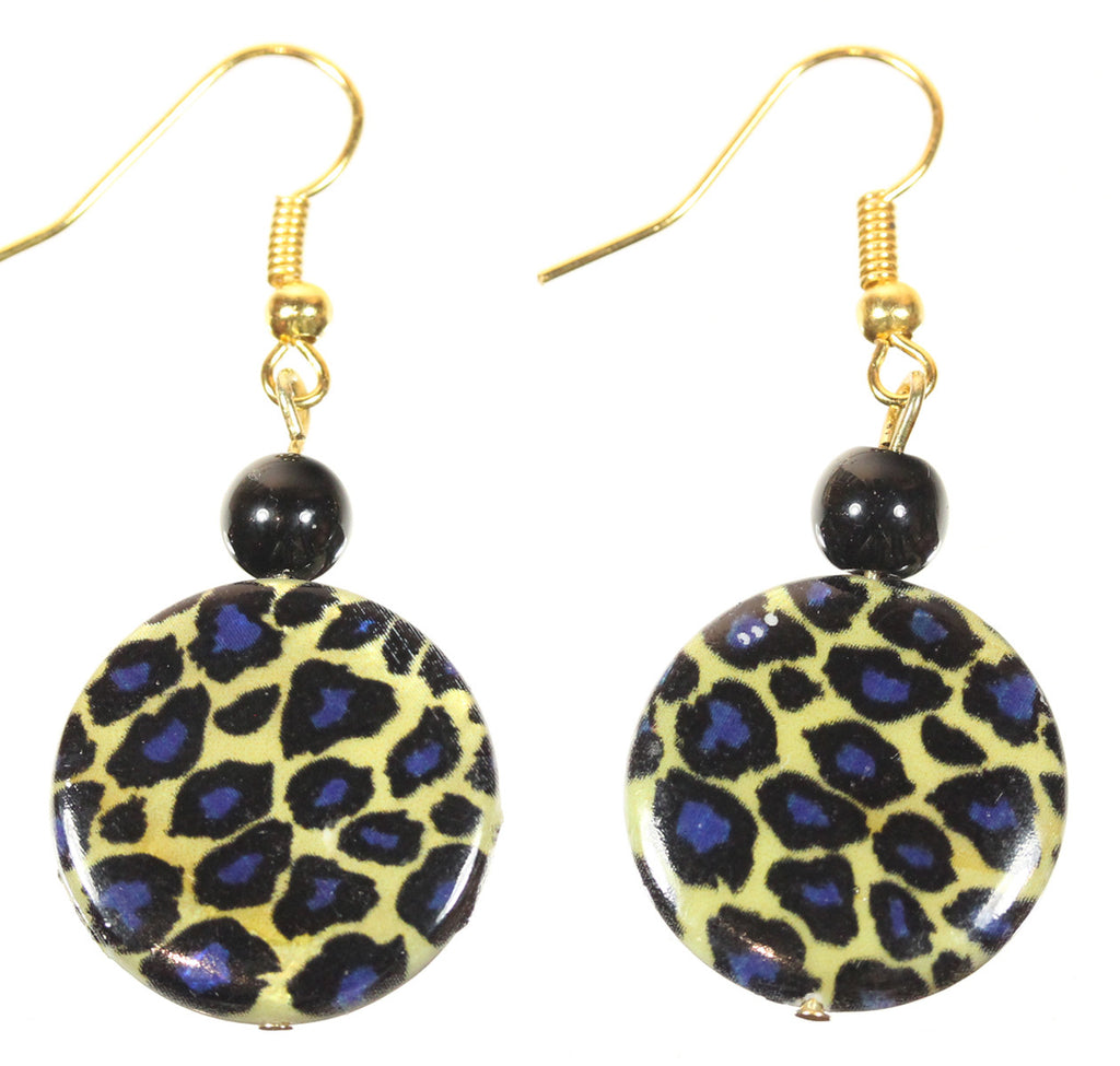 "Animal Print Earrings ""Blue Leopard"" Style-ARThouse"