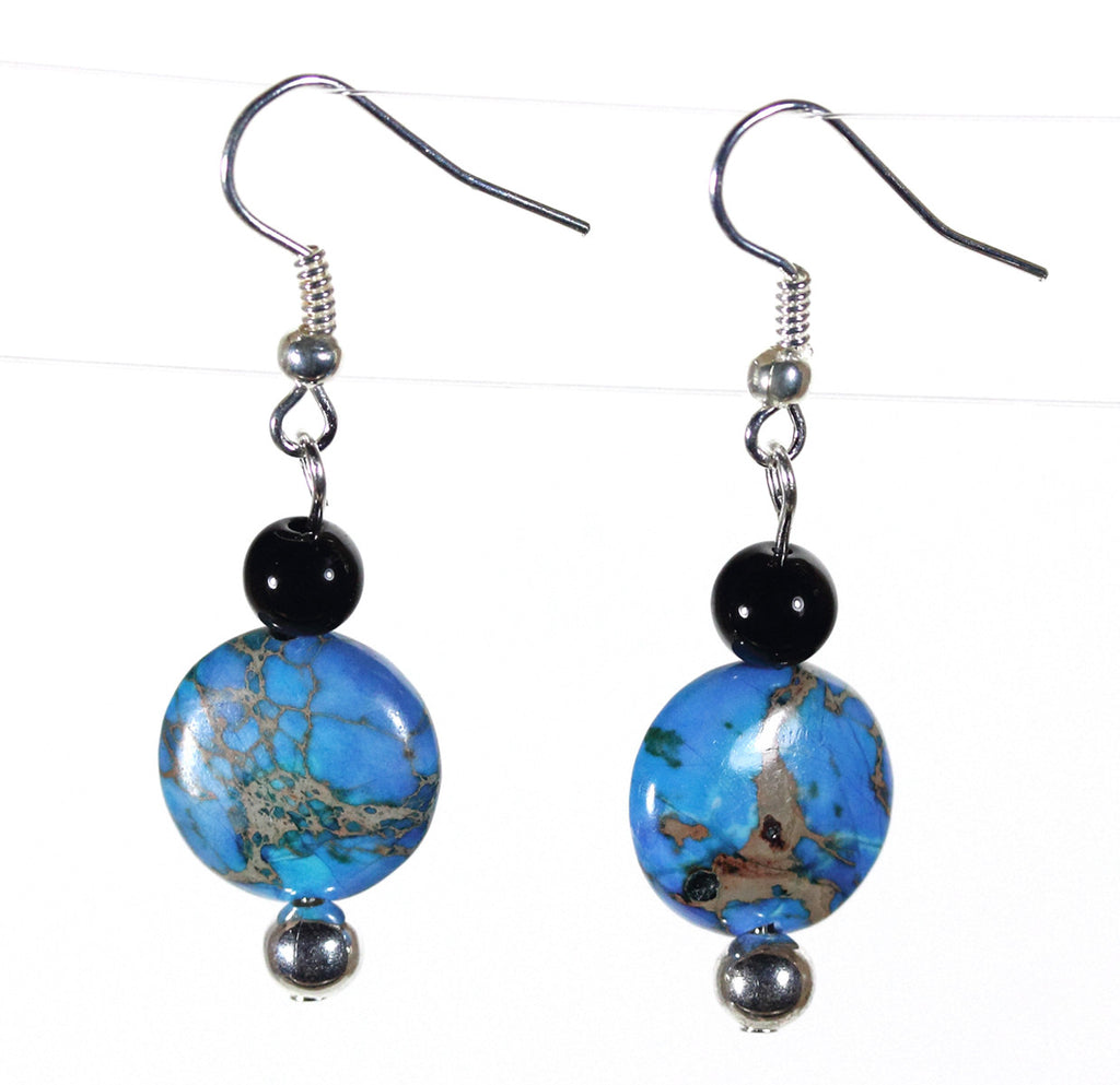 "Blue Jasper Earrings ""Blue Planet"" Style-ARThouse"