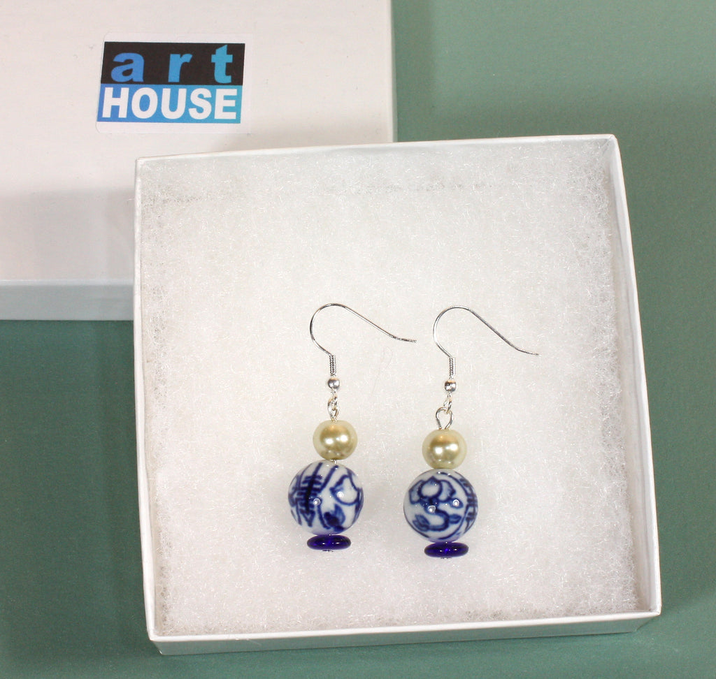 """Blue and White Classic"" Blue Delft Earrings"
