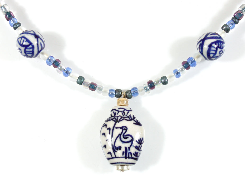 """Blue and White Classic"" Ceramic Vase Pendant Necklace, 24 Inches"