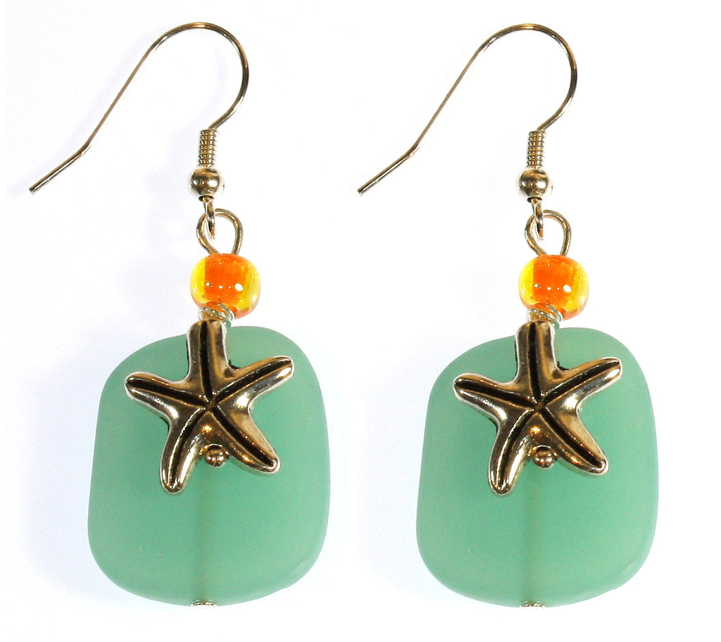"""Bottle Glass and Starfish"" Faux Sea Glass Earrings; Dangle 2.0 Inches"