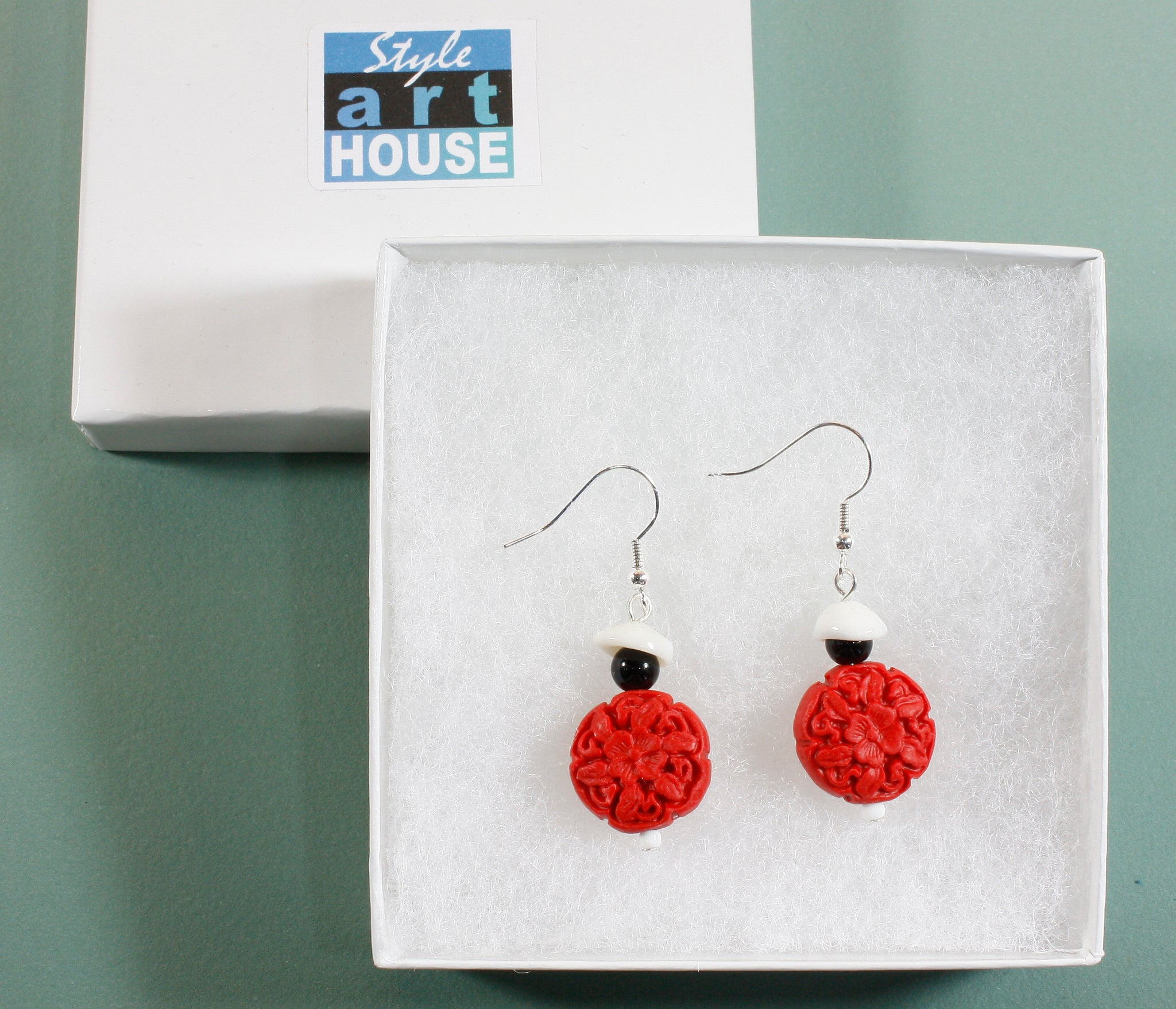 """Can You See Me?"" Red Chinese Cinnibar Bead Earrings, 2.0 Inches"