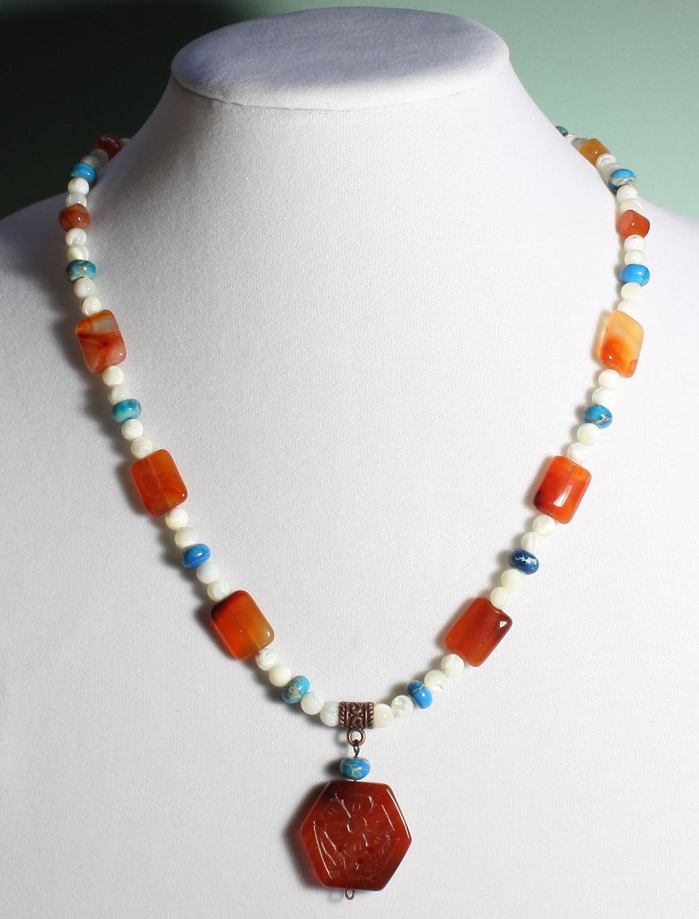 "Carnelian Flower Necklace ""Carved in Carnelian"" Style-ARThouse"