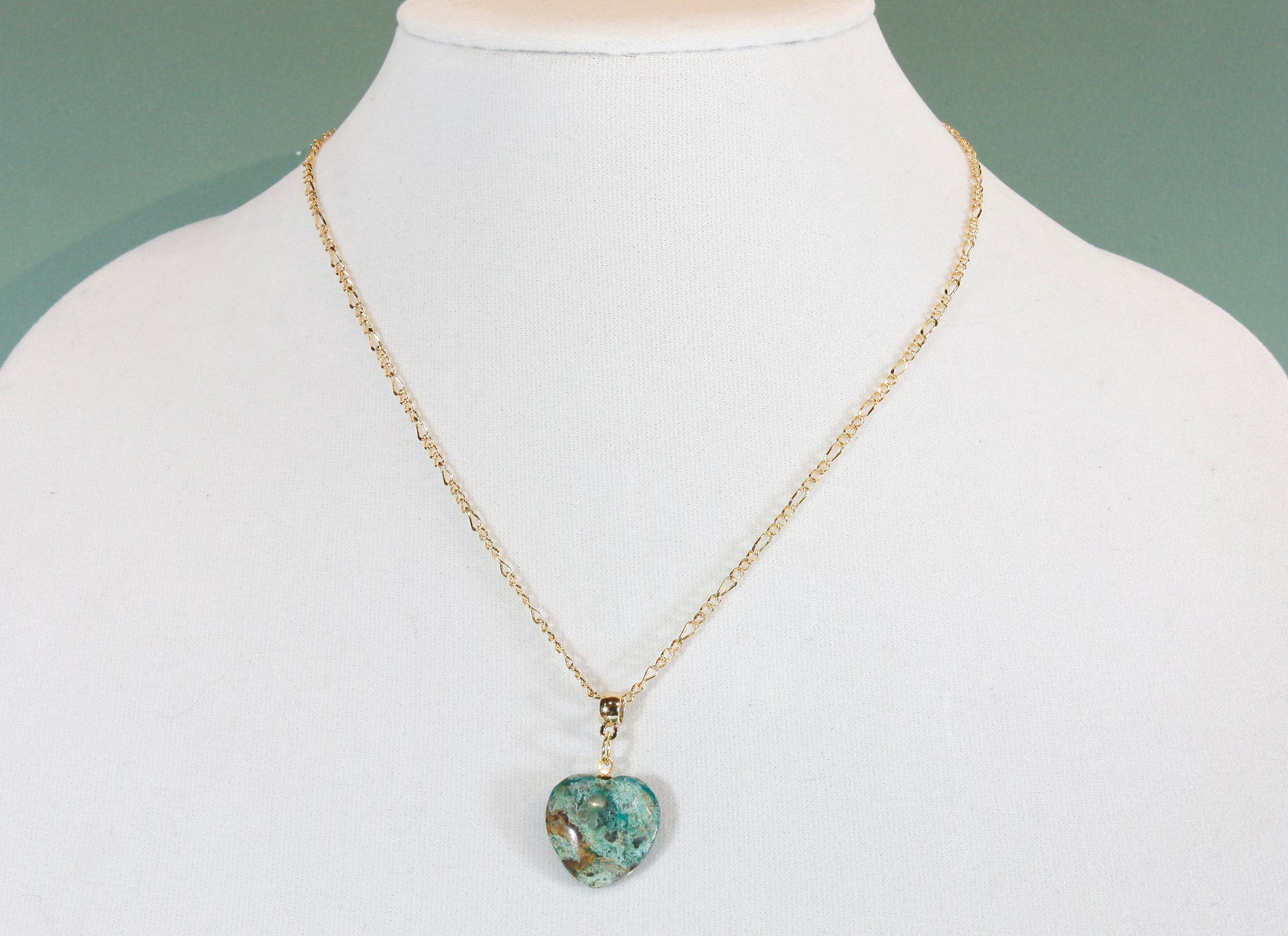 """Chrysocolla Heart"" Natural Chrysocolla Heart Pendant on 18"" Goldtone Chain"