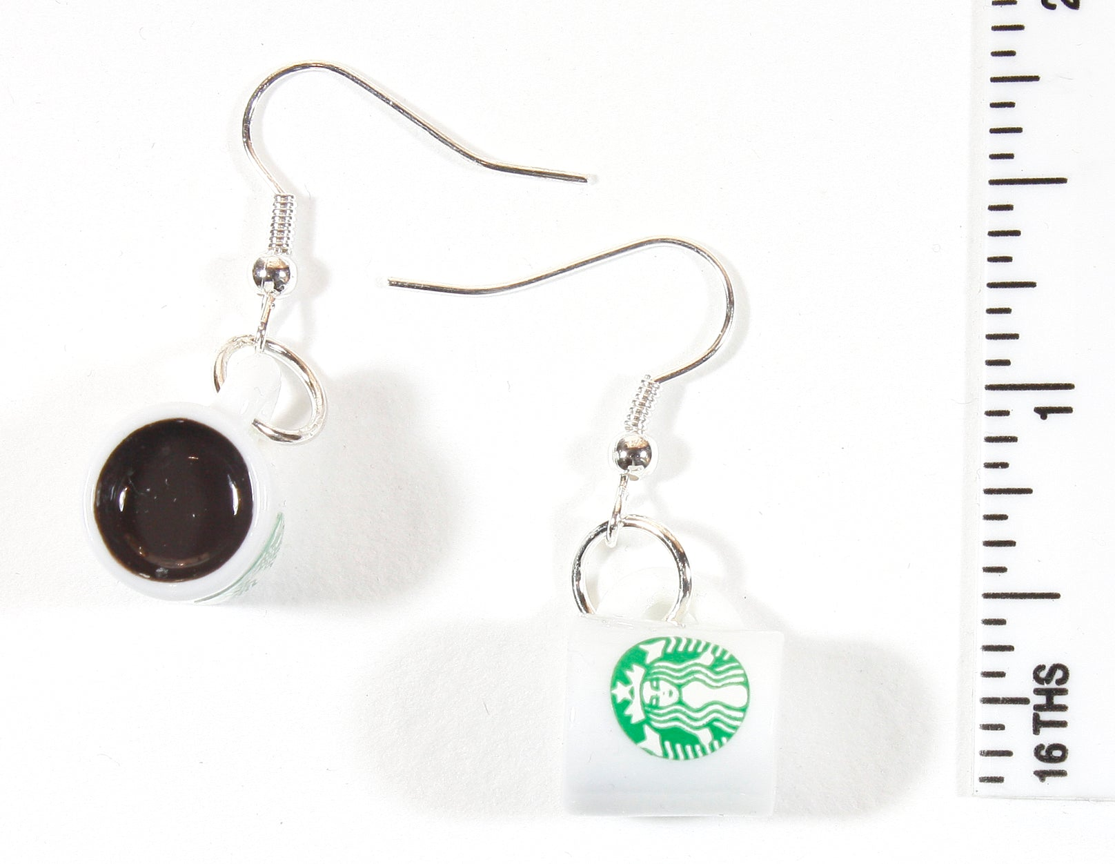 Coffee Lover, Coffee Cup Earrings with Starbucks Logo