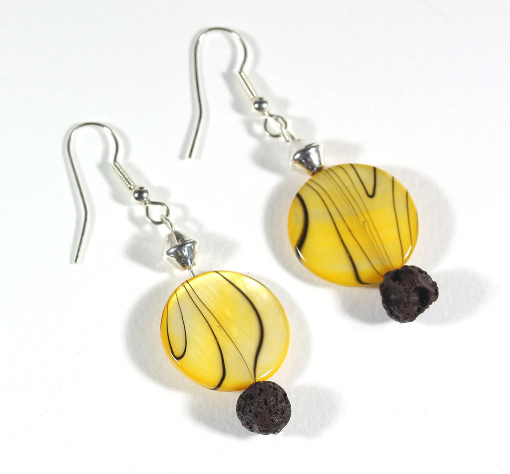 "Yellow Mother of Pearl Earrings ""Color Me Sunshine"" Style-ARThouse"