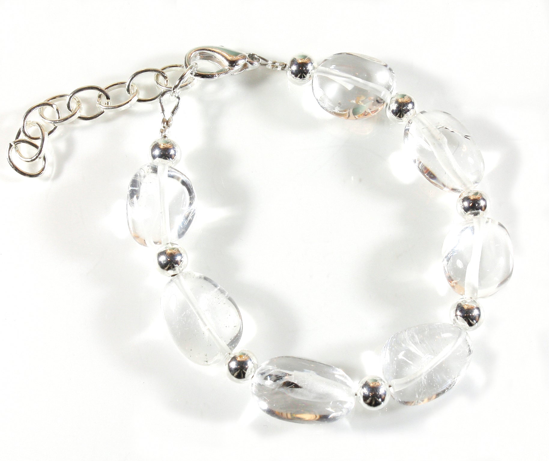"""Crystal Clear"" Perfectly Clear Quartz Crystal Bracelet in a Nugget Shapes"