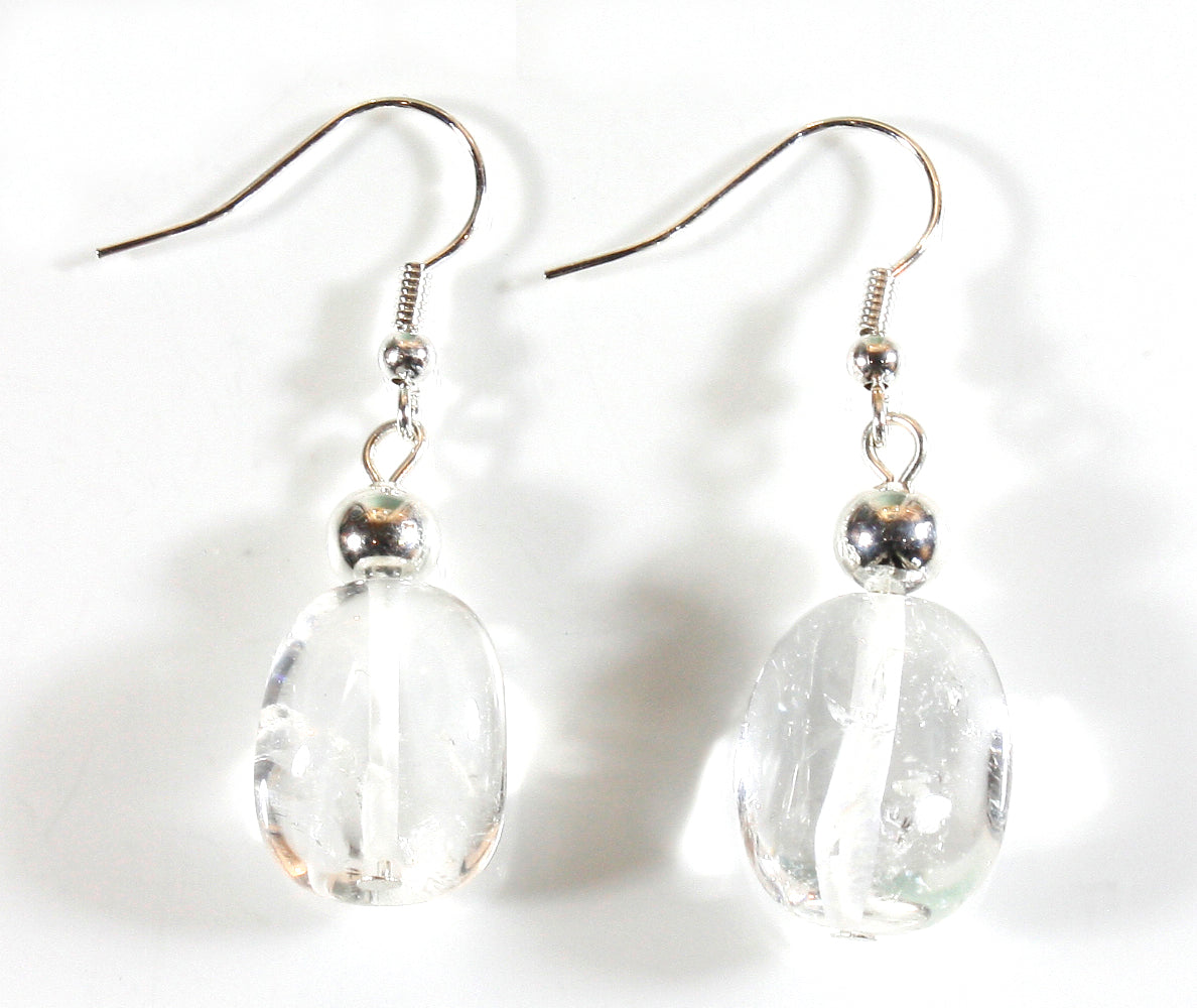 """Crystal Clear"" Perfectly Clear Quartz Crystal Earrings in a Nugget Shape"