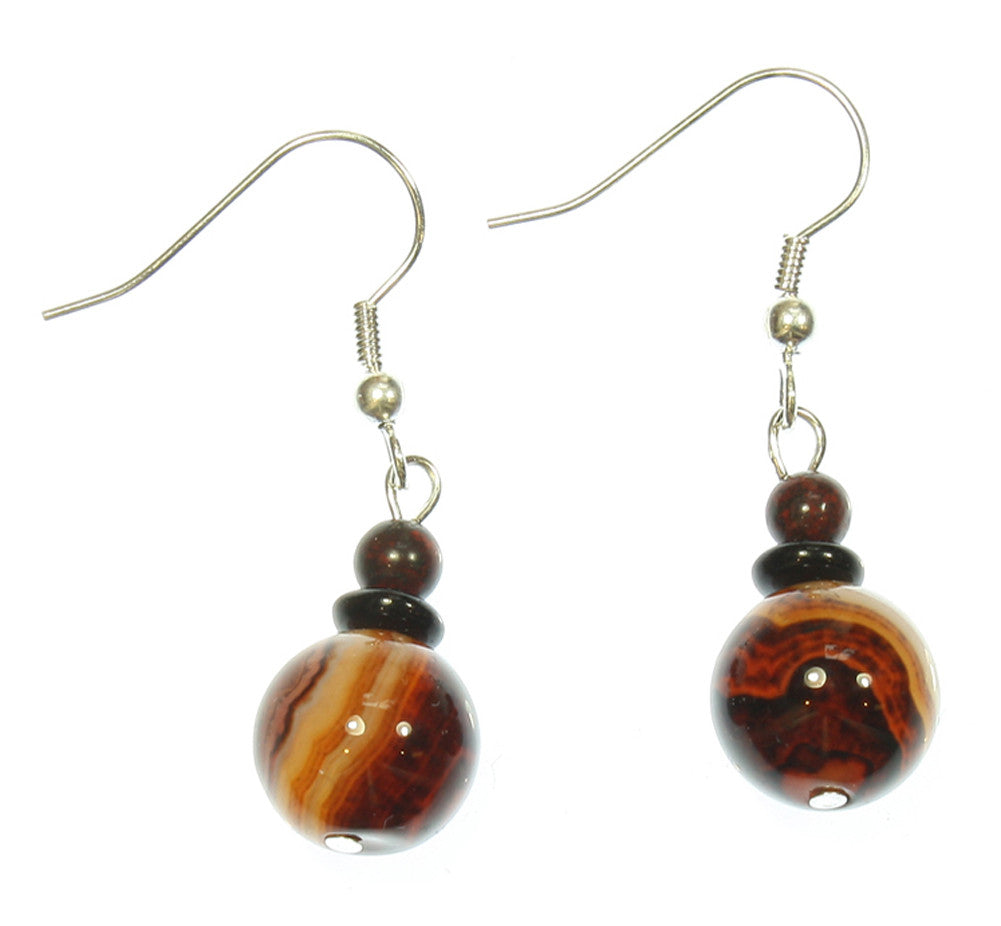 "Exoplanet Natural Agate Earrings ""Dark Worlds"" Style-ARThouse"
