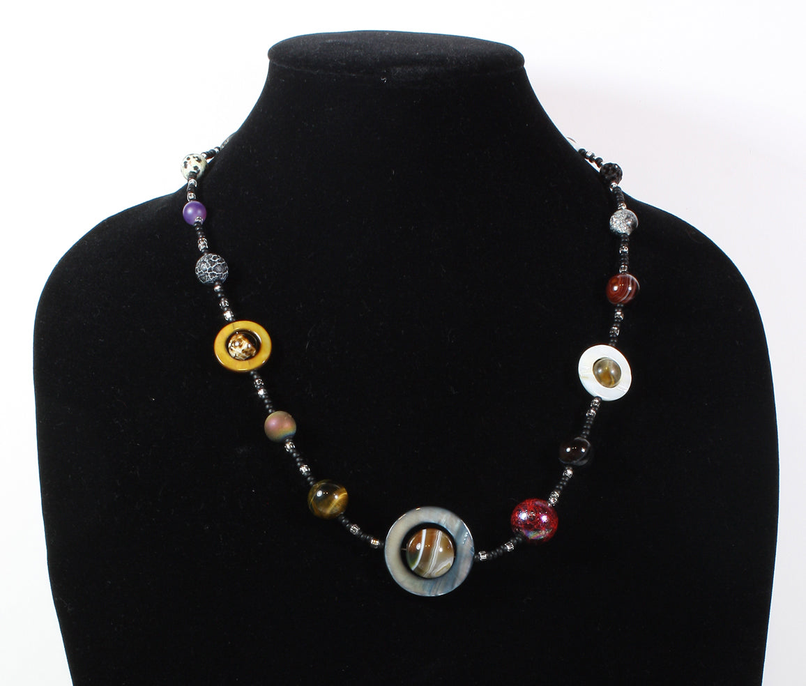Dark Worlds Necklace, the Necklace of Possibly Evil Exoplanets, 23 Inches Adjustable