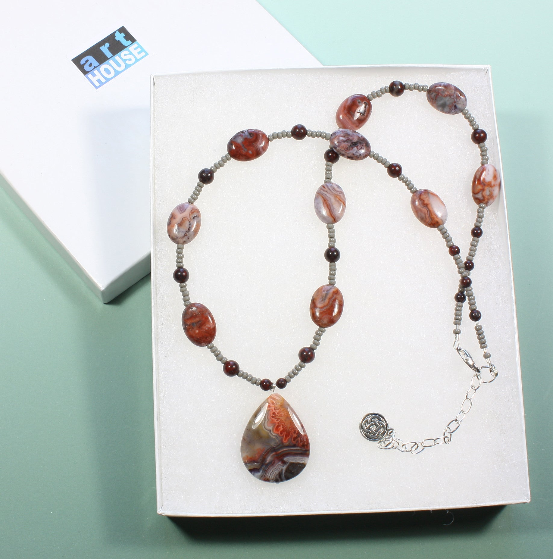 "Natural Crazy Lace Agate Necklace ""Desert Landscape Geode"" Style-ARThouse"